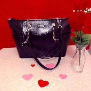 DKNY Gigi MD black patient leather tote